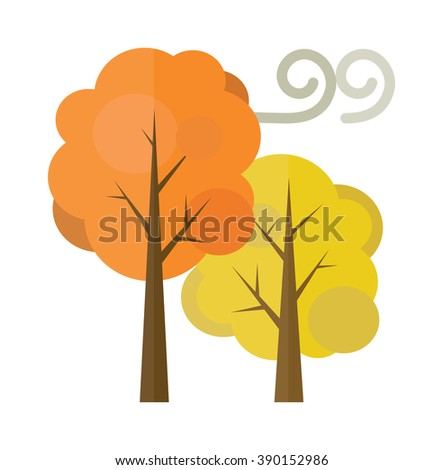 Golden autumn trees flat vector illustration isolated on white background. Autumn trees yellow nature plants. Season autumn beautiful trees forest. - stock vector