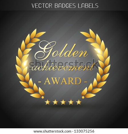 golden award label design illustration - stock vector