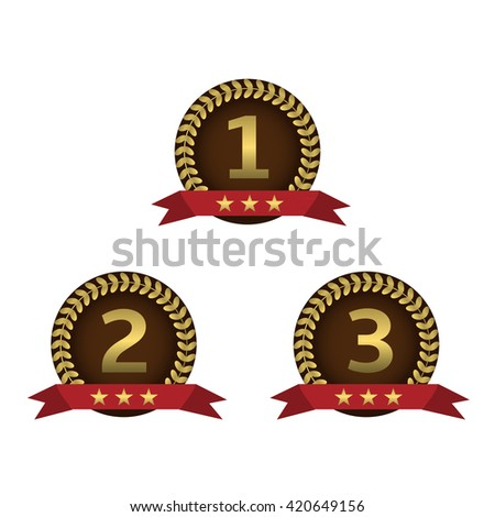 Golden award labels with red ribbons. First second third places, Golden laurel wreaths - stock vector