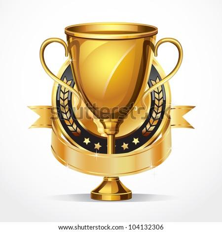Golden award trophy and Medal. vector illustration - stock vector