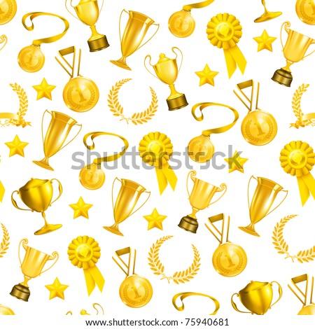 Golden Awards, seamless pattern 10eps - stock vector