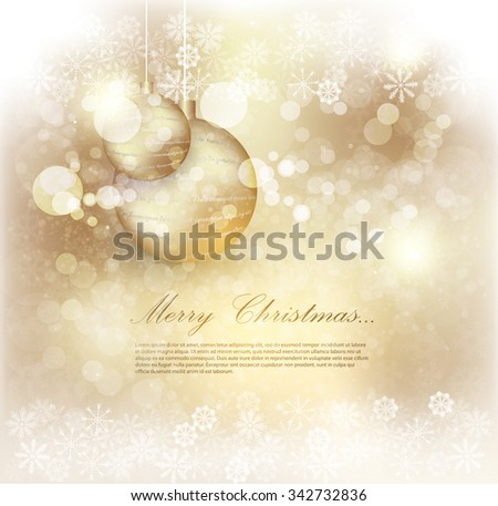 Golden background christmas. Abstract Christmas background with snowflakes and place for text. Vector Illustration.  - stock vector