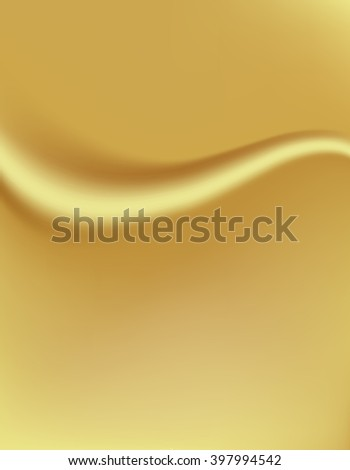 Golden background with a fold. Silk tissue. Vector illustration - stock vector