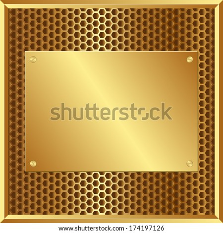 golden background with plaque