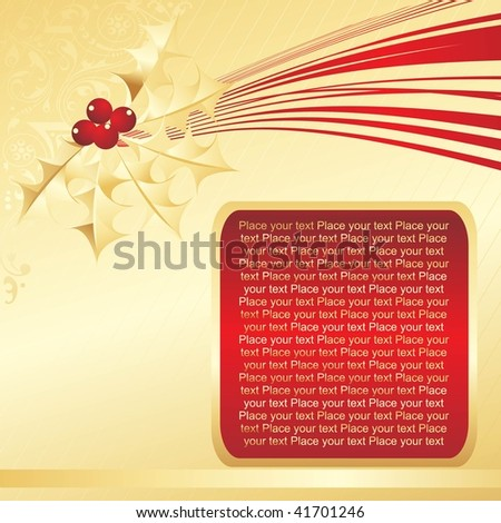 golden background with red frame - stock vector