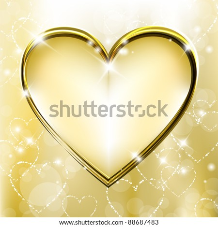 Golden background with shiny and sparkling heart shapes