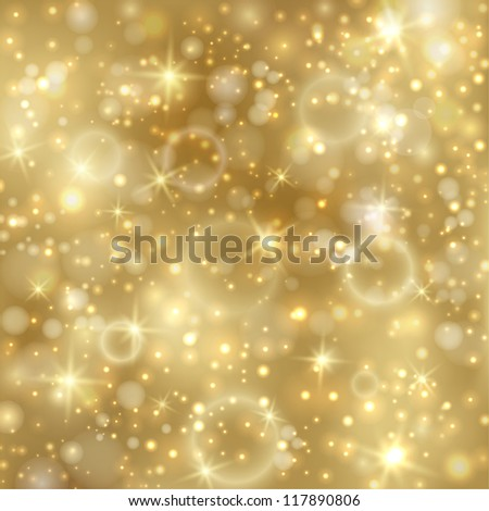 Golden background with stars and twinkly lights. EPS10 - stock vector