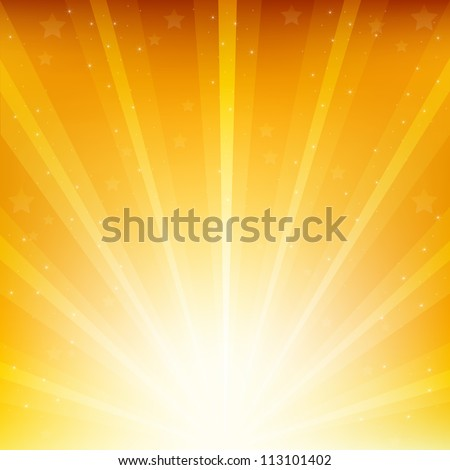 Golden Background With Sunburst And Stars, Vector Illustration - stock vector