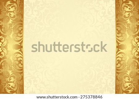 golden background with vintage ornaments - stock vector