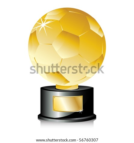 Golden Ball Soccer Trophy Champion. Editable Vector Illustration - stock vector