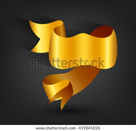 Golden banner ribbon on dark background