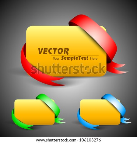 Golden banner with ribbon isolated on grey background. EPS 10. - stock vector
