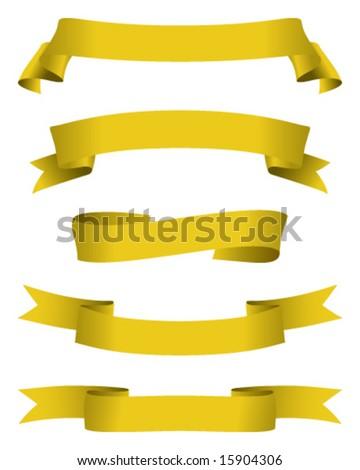 golden banners - stock vector