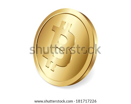 Golden Bitcoin coin, decentralized cryptocurrency - stock vector
