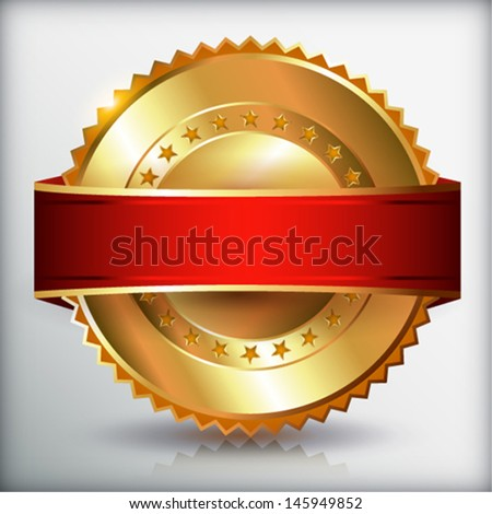 Golden blank label.  Vector eps 10 illustration.  - stock vector