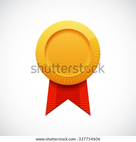 Golden Blank Medal Award with Ribbon for Games. Achievement Icon. Vector illustration. - stock vector