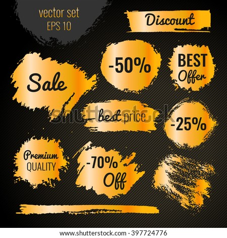 Golden blots, stains to label, discount, best price. Vector set illustration in grunge style EPS10 - stock vector