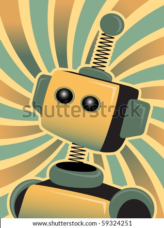 Golden Blue Robot looks up accented by swirly colorful background - stock vector