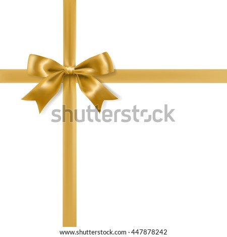 golden bow decoration on white background. vector