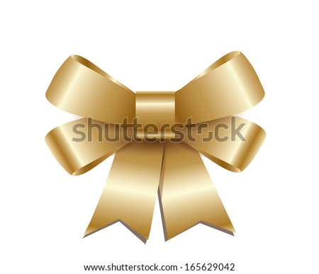 Golden  bow isolated on white background