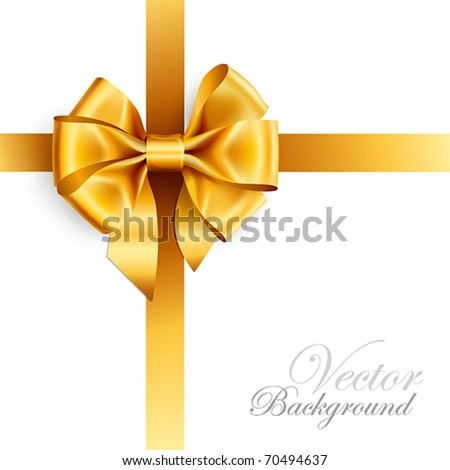golden bow isolated on white. Vector illustration - stock vector