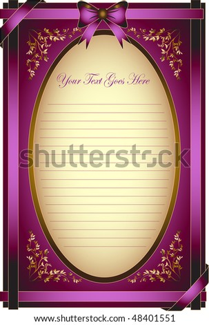 golden bow on a ribbon with brown background - vector Inscription or congratulation card - stock vector