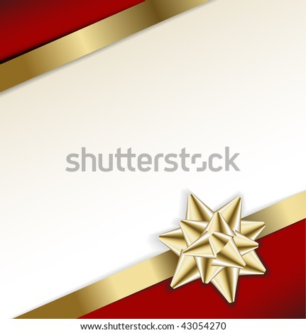 golden bow on a ribbon with white and red background - vector Christmas card - stock vector