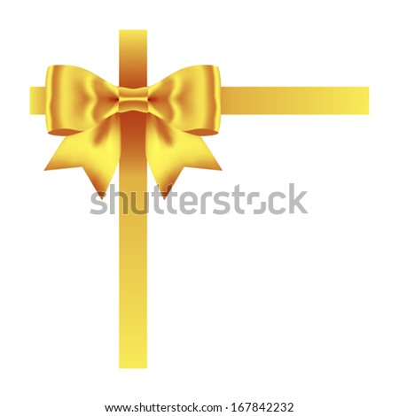 golden bow with ribbons isolated on white. Vector illustration