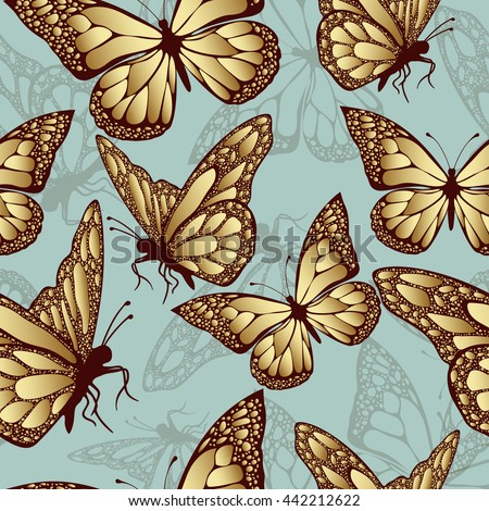Golden butterfly seamless pattern. Luxury design, expensive jewelry. Exotic patterned Insect. Golden and translucent wings on blue background. Textiles, fabric design, wallpaper, vector background