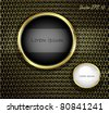 Golden Buttons on Carbon Fiber Background. Vector illustration - stock photo