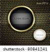Golden Buttons on Carbon Fiber Background. Vector illustration - stock vector