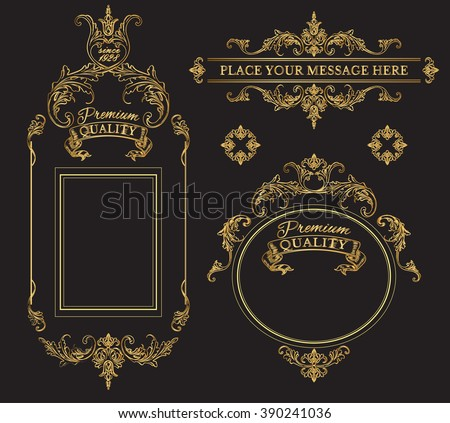 Golden calligraphic design page decoration elements and frames.Vintage premium quality label collection. Best for chocolate, cocoa, alcoholic beverages and tobacco. Vector illustration - stock vector