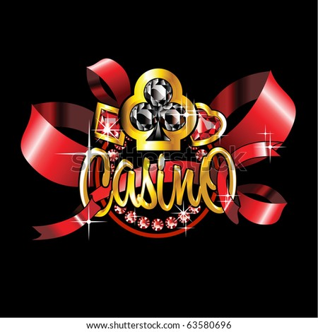 golden casino label with red ribbons on black background - stock vector