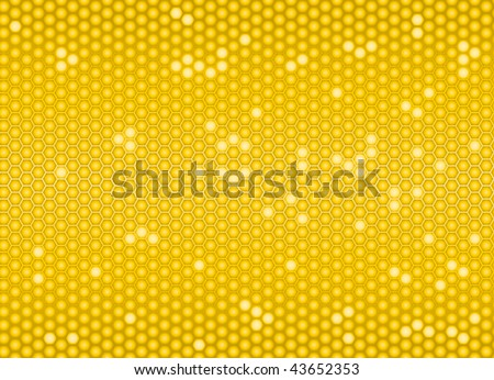 Golden cells of a honeycomb seamless background - stock vector
