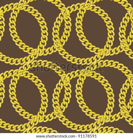 Golden chain seamless vector - stock vector
