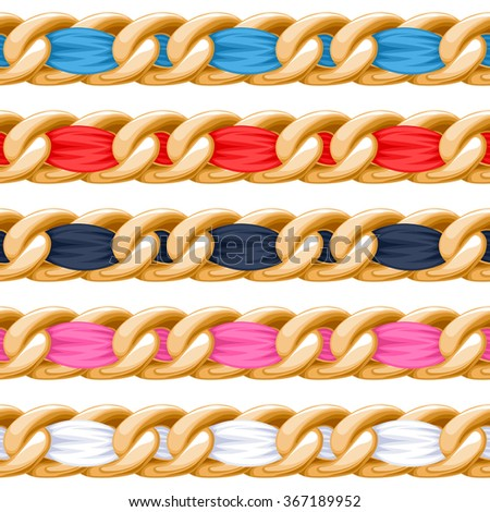 Golden chains set with colorful threaded fabric ribbon vector brush. Good for necklace, bracelet, jewelry accessory design. - stock vector