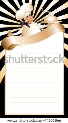 Golden chef menu template - stock vector