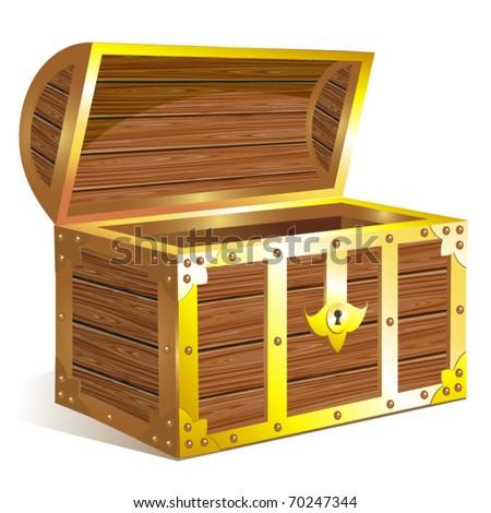 Golden chest. Vector - stock vector