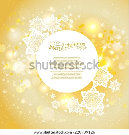 Golden christmas backdrop with copy space - stock vector