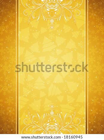 golden  christmas background, vector illustration - stock vector