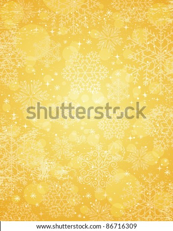 golden christmas background with snowflakes, vector illustration - stock vector