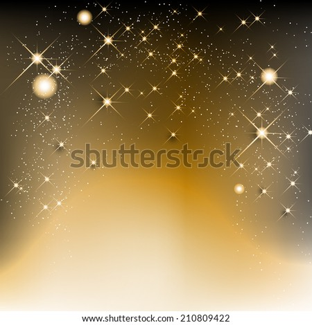Golden christmas background with stars and shines - vector illustration - stock vector