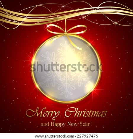 Golden Christmas ball on red background, illustration. - stock vector
