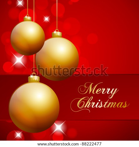 Golden Christmas Balls hanging in front of red abstract background - stock vector