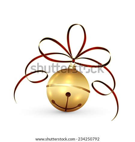 Golden Christmas bell with tinsel and bow isolated on white background, illustration. - stock vector