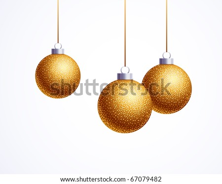 golden christmas decoration sphere on white - stock vector