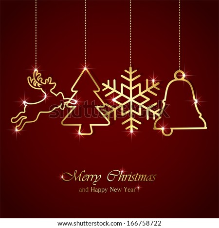 Golden Christmas elements on red background, illustration. - stock vector