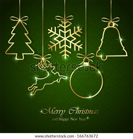 Golden Christmas elements on seamless green background, illustration. - stock vector