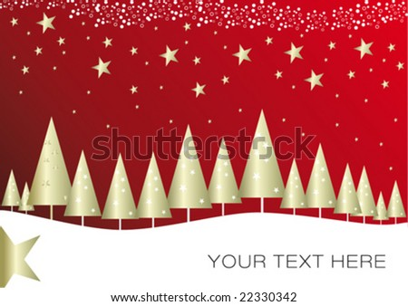 Golden Christmas forest on red background with stars and snow flakes. the perfect greeting card.