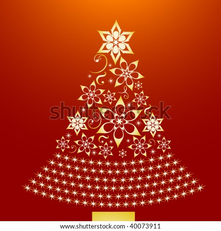 golden christmas tree - stock vector